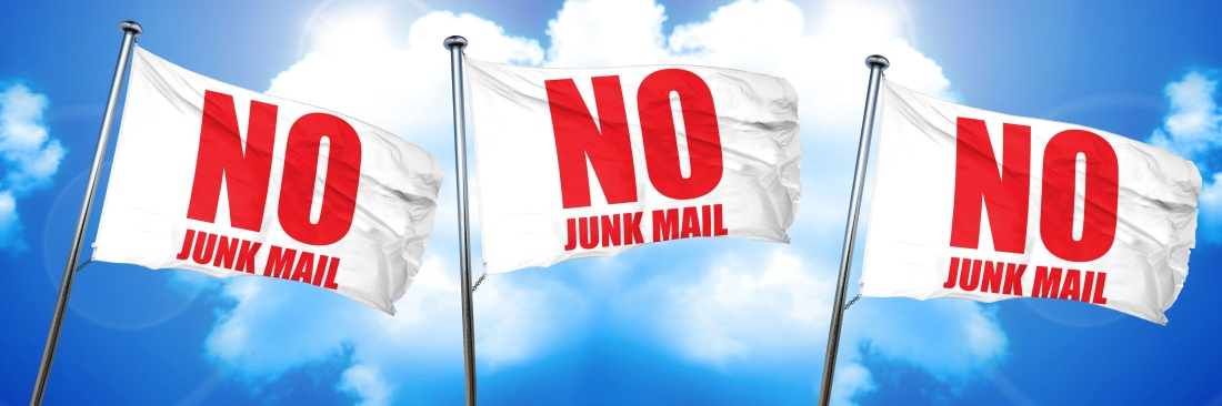 no junk mail, 3D rendering, triple flags